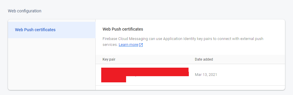 firebase send push notificatio web config